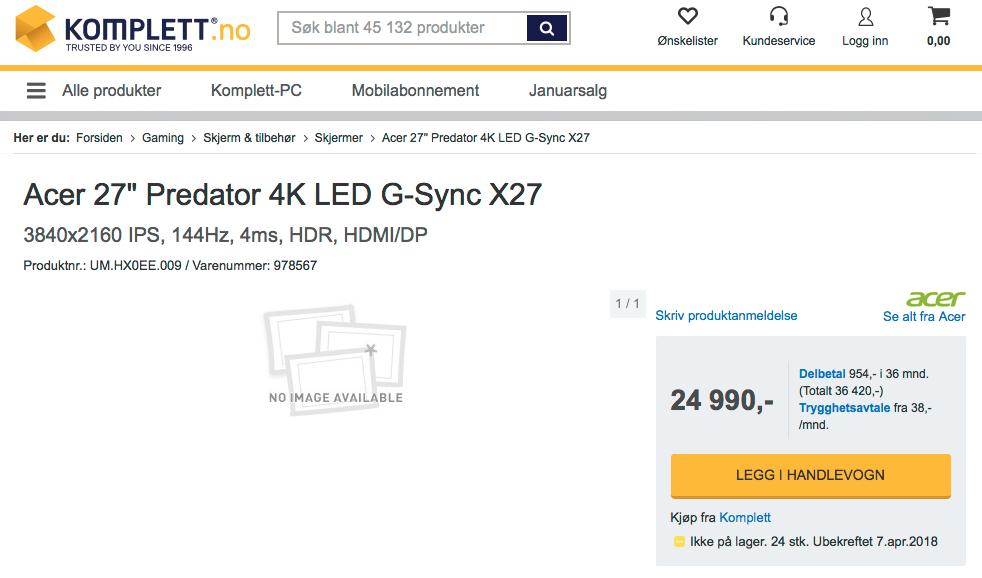 Det begynner å bli dyrt å være gamer, si. Veiledende pris for Acers X27 er 24990 kroner.