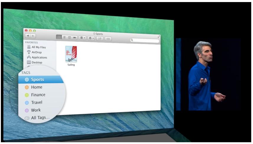 Du kan tagge alt av filer, slik at du finner frem til dem enklere.Foto: Apple
