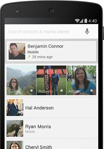 Ringeappen i Android er oppdatert. Den kan nå organisere kontaktene du bruker oftest øverst.Foto: Google