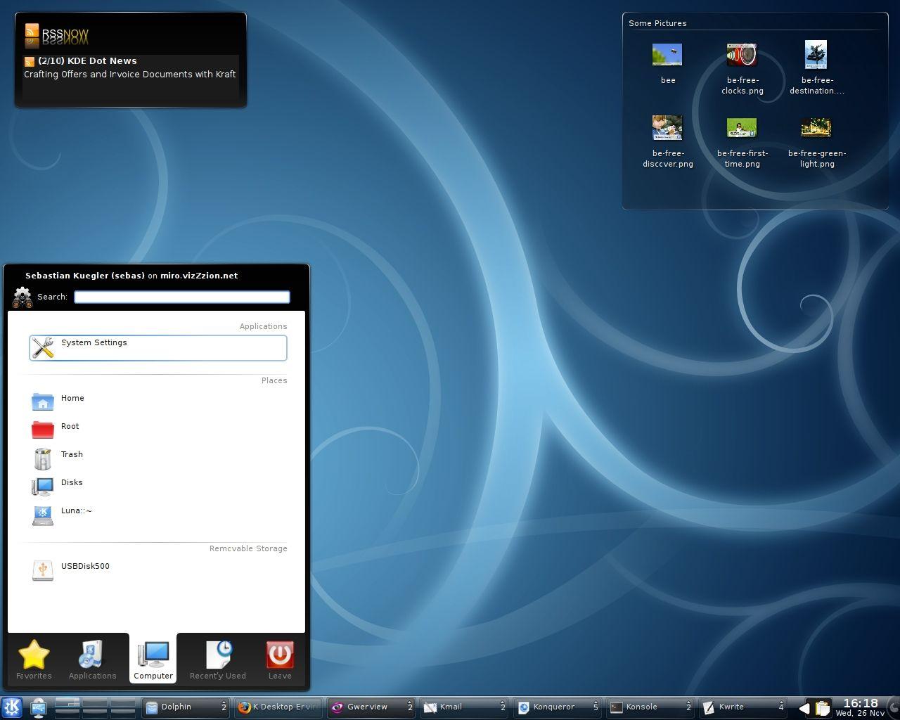 Skrivebordet i KDE4 Klikk for større bilde