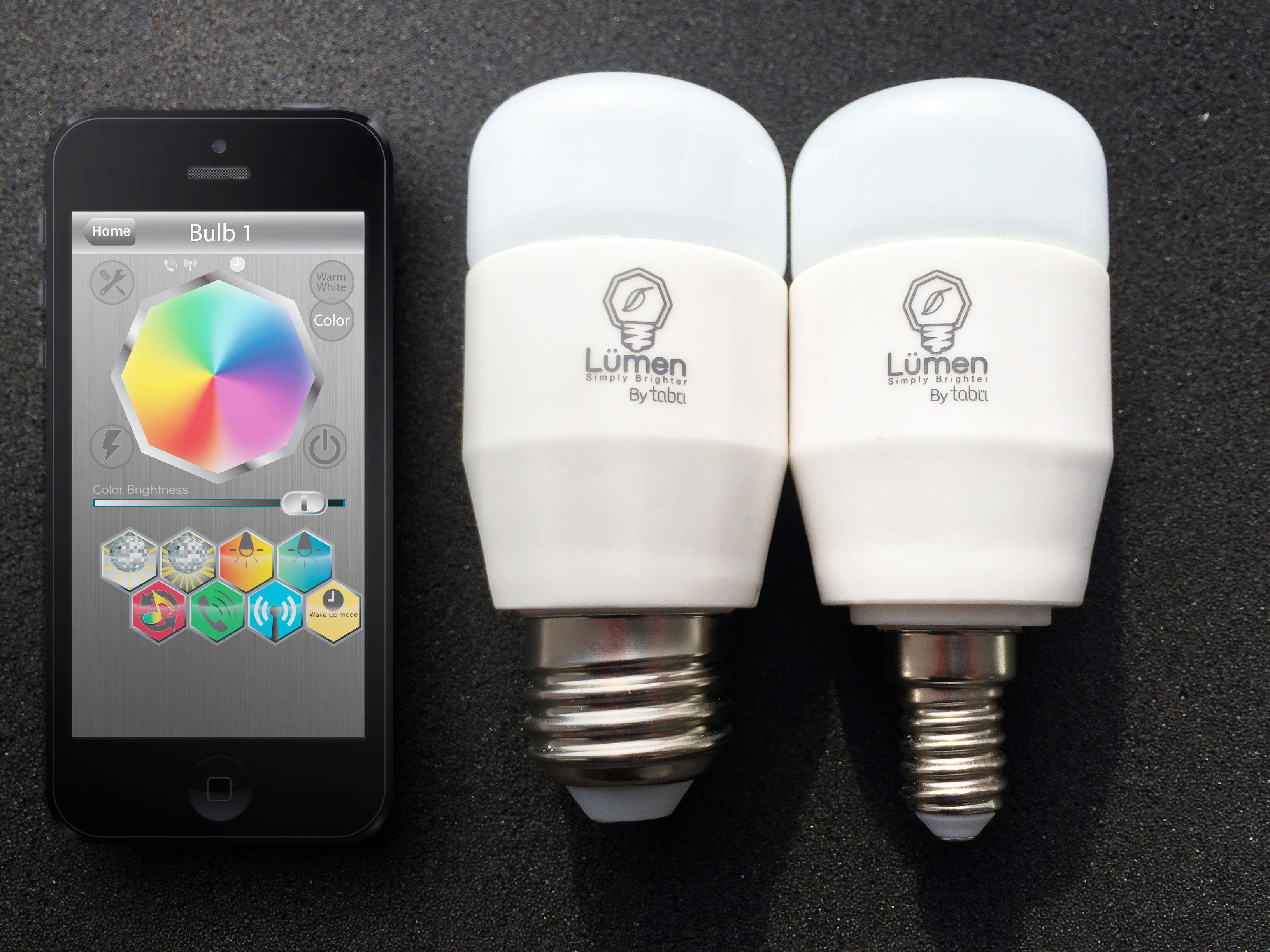Lyspærer kan styres direkte av telefonen. Foto: Tabu Design