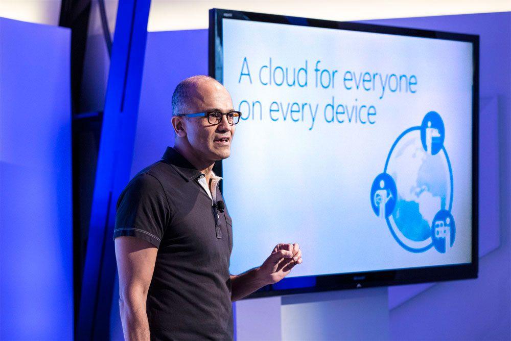 Microsofts toppsjef Satya Nadella annonserer Office for iPad på en pressekonferanse i San Francisco 27. mars 2014.Foto: Microsoft
