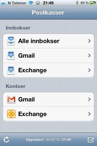 Mail-appen på iPhone lar deg velge om du vil vise e-post fra kun én konto, eller fra alle kontoene du har satt opp.