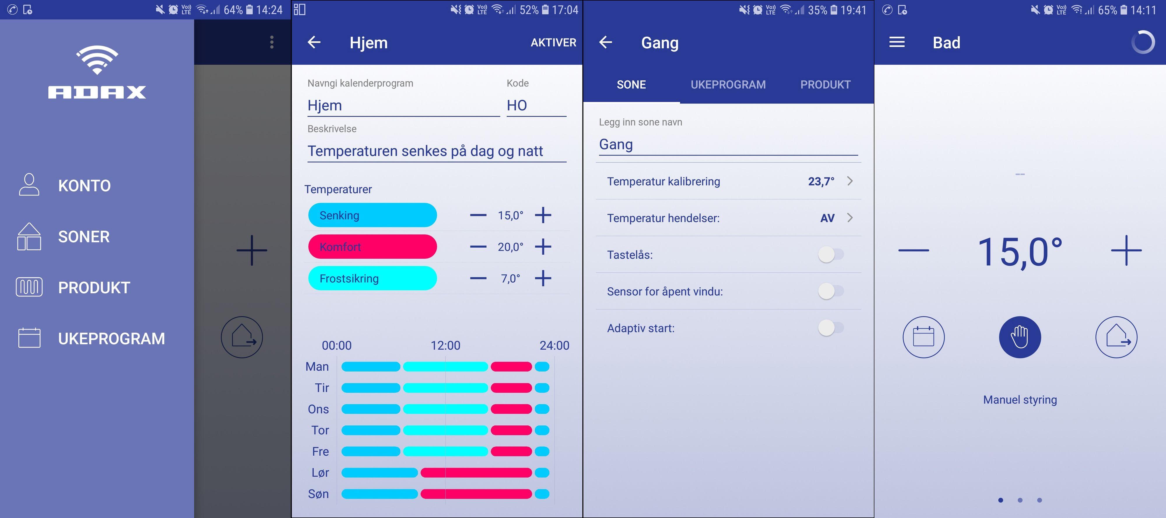 Å lage ukeprogram i Adax-appen går fint, men den visuelle oversikten er ikke den beste. Her er også muligheter for manuell overstyring for hvert enkelt rom.