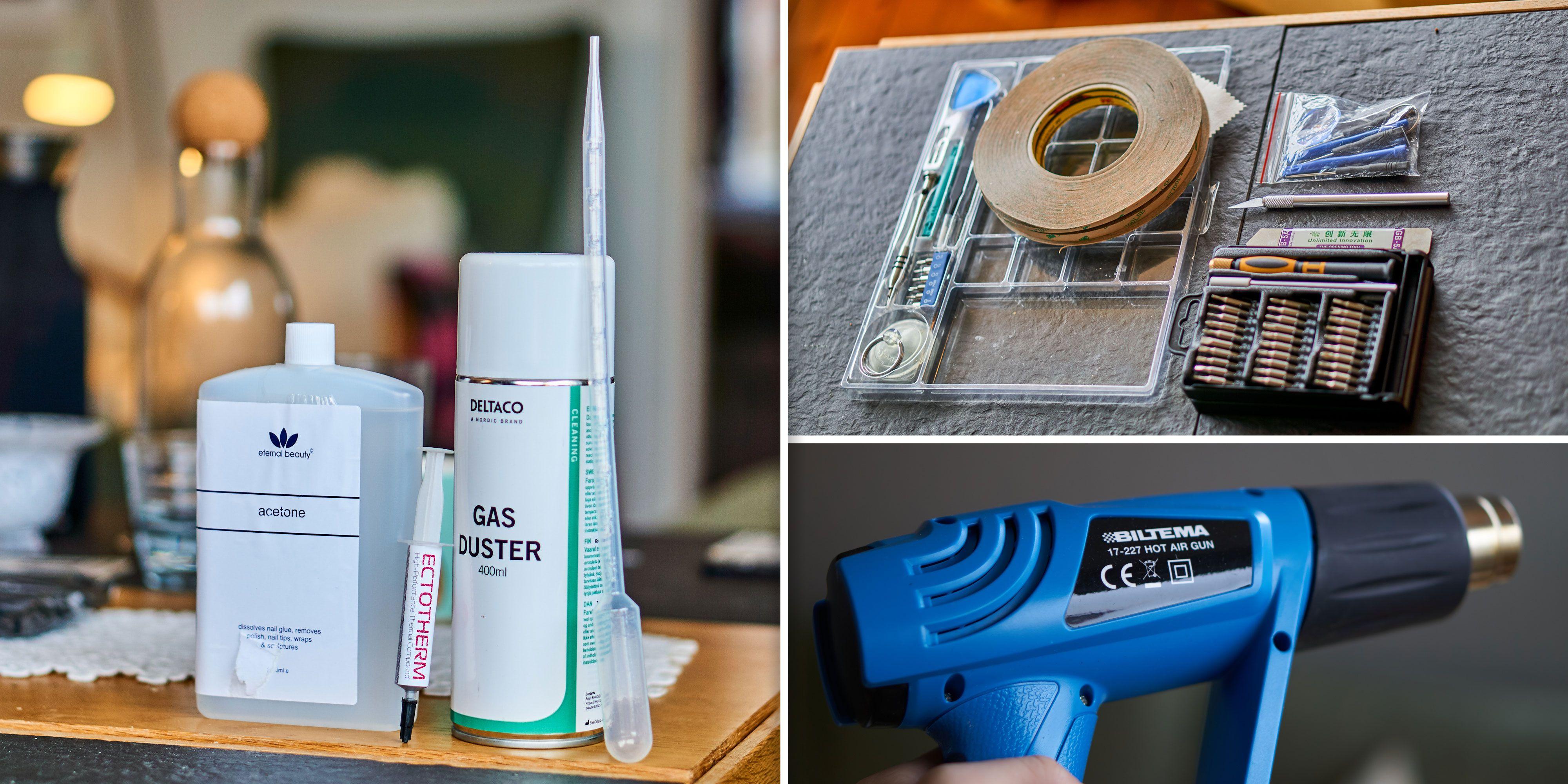 Utstyret vi brukte. Aceton, trykkluft, pipette, skrutrekkersett, dobbeltsidig tape, flate bøyeverktøy, plastverktøy, brekkebladkniv og varmepistol.