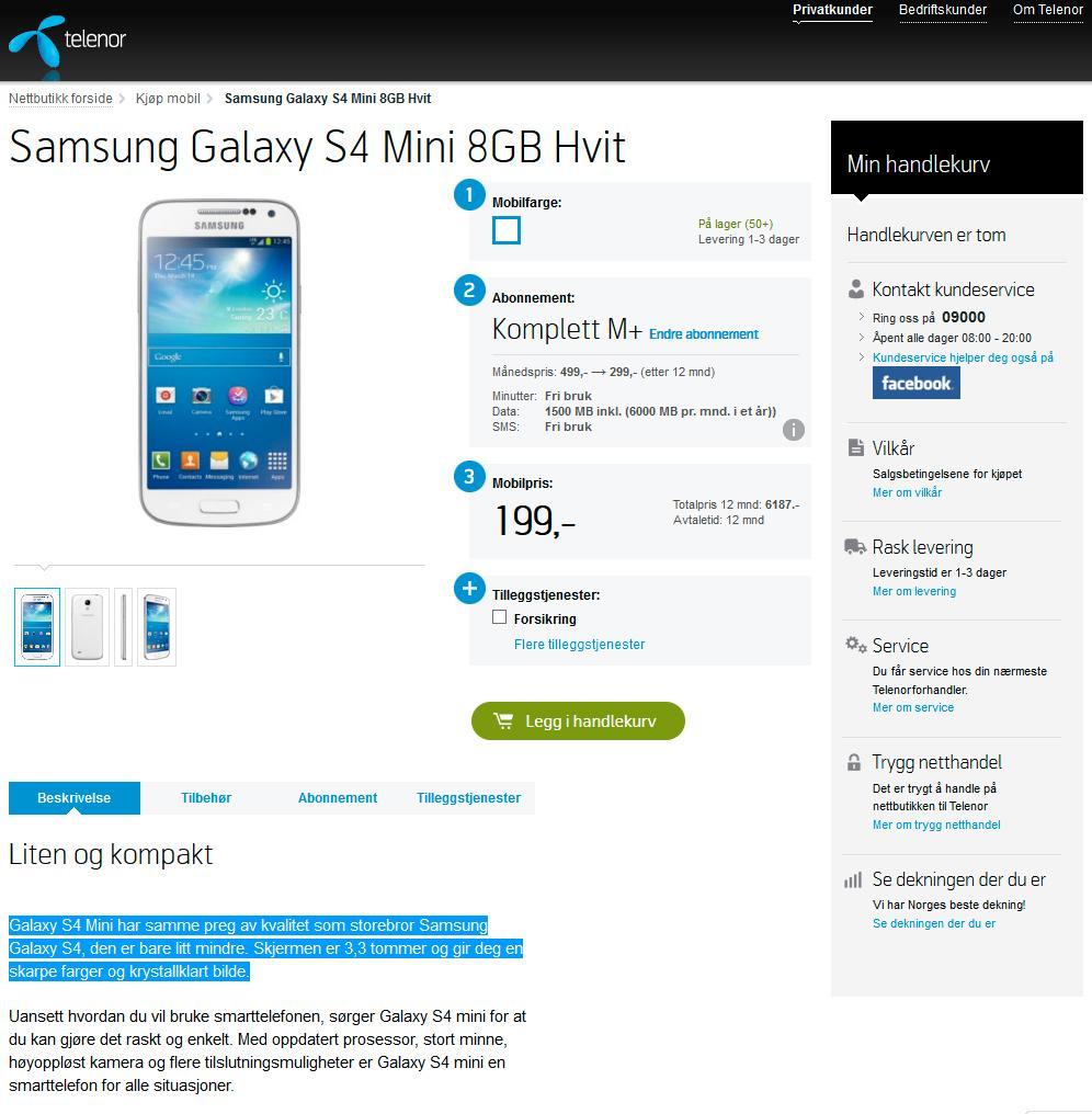 Slik markedsføres Galaxy S4 Mini av Telenor.Foto: Skjermdump, Telenor.no