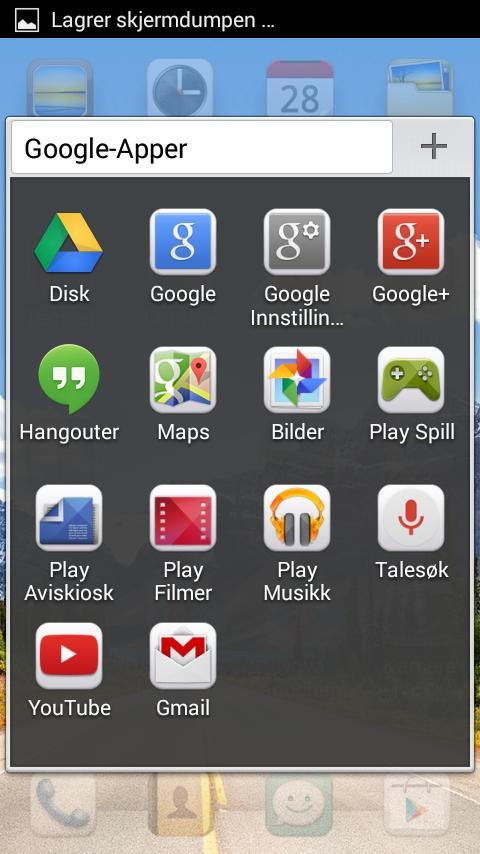 På startskjermen finner du noen mapper. Disse ikonene kan du dra ut på skrivebordet om du i stedet vil ha de der, men du kan ikke ha et ikon begge steder.