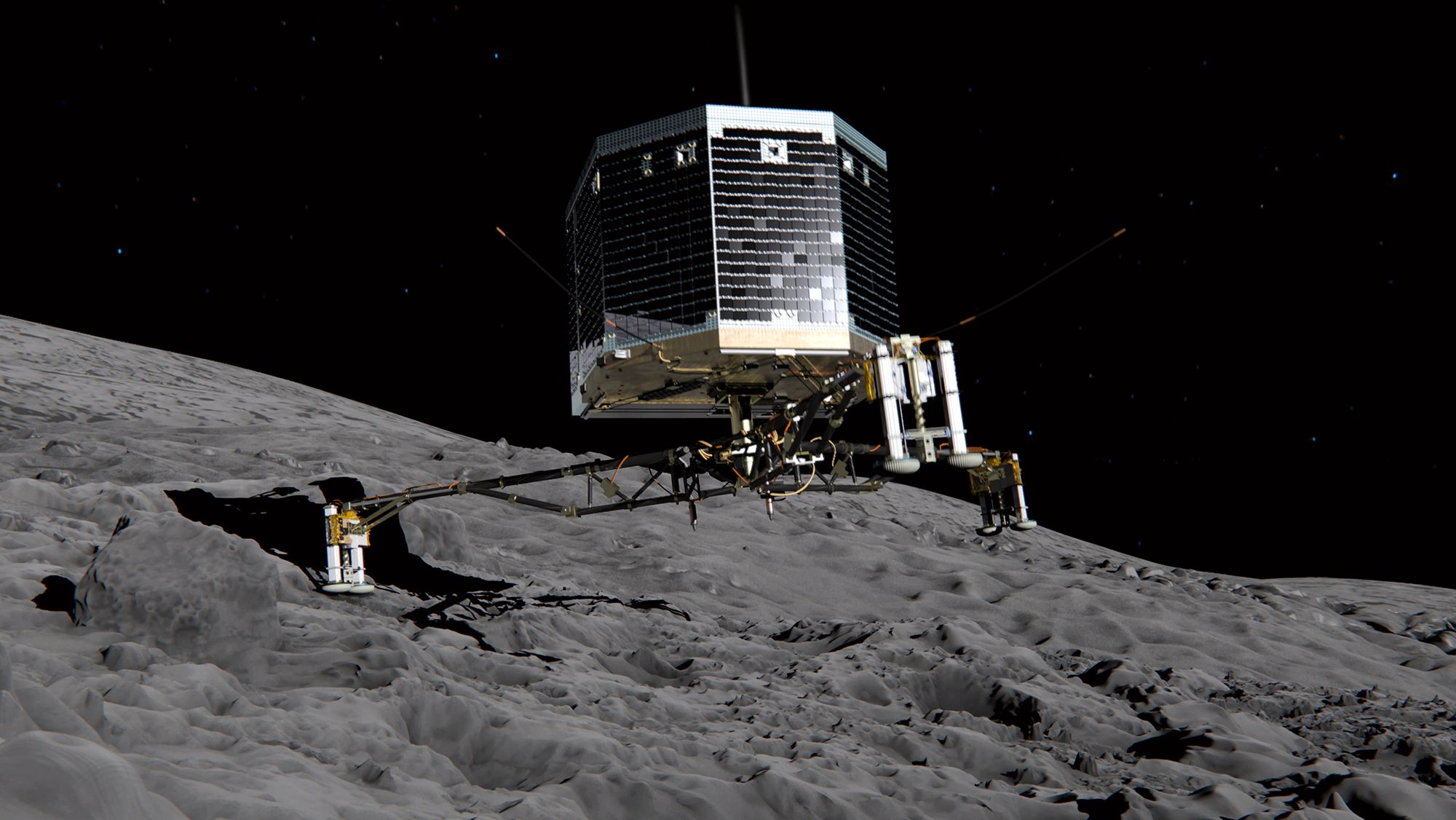 Illustrasjon av landingfartøyet Philae under landingen på kometen.Foto: ESA