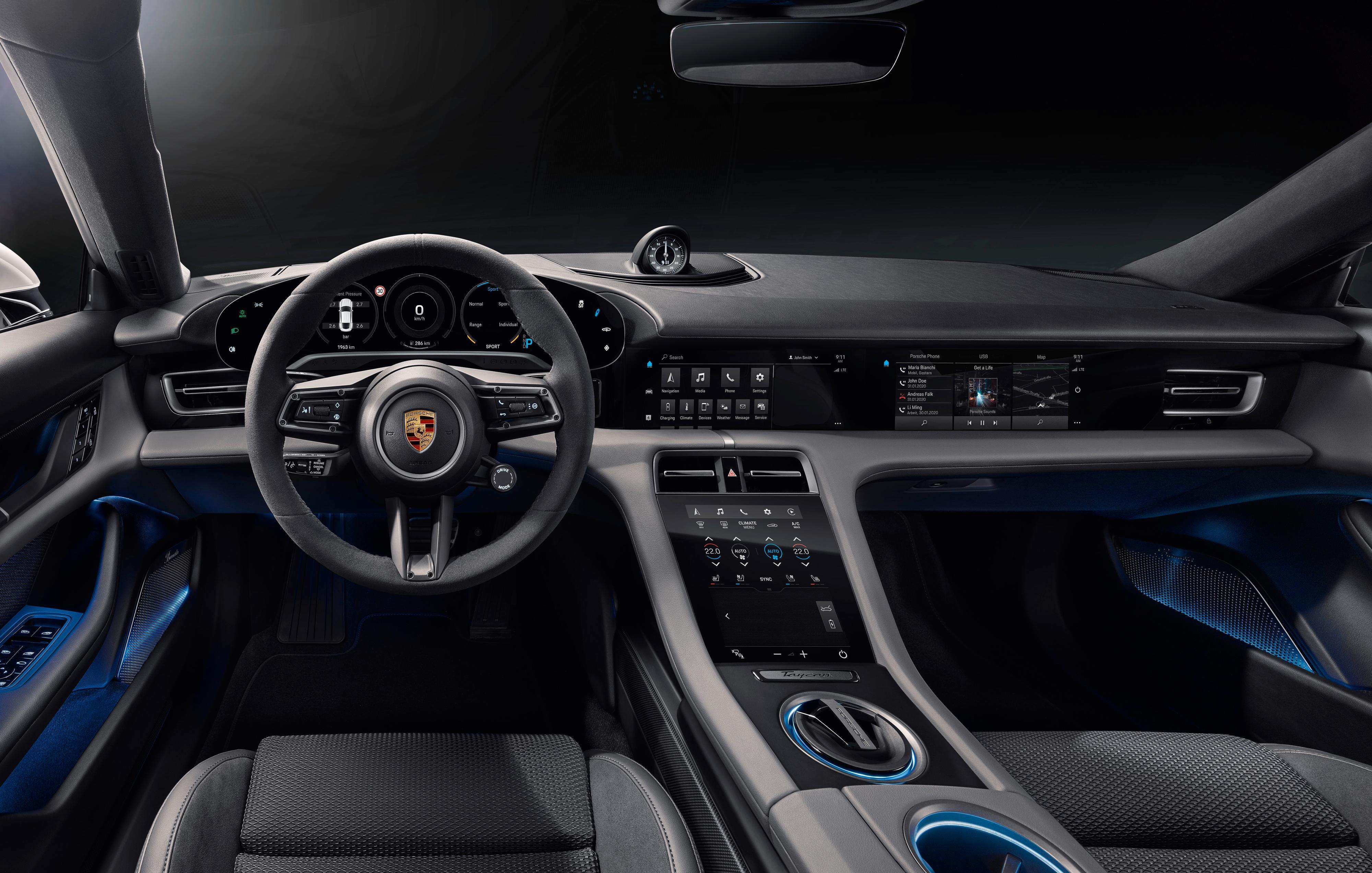 Førermiljøet i Porsche Taycan.