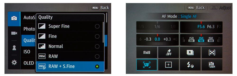 Til ventre hovedmenyen, til høyre hurtigmenyen. Begge kan betjenes med knapper eller ved å trykke på skjermen.