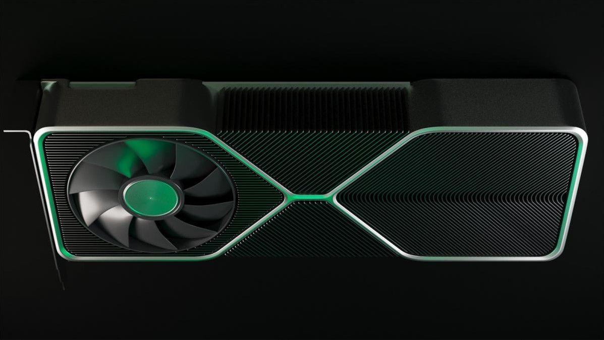 En 3D-render basert på lekkede bilder av Nvidias kommende RTX 30-serie.