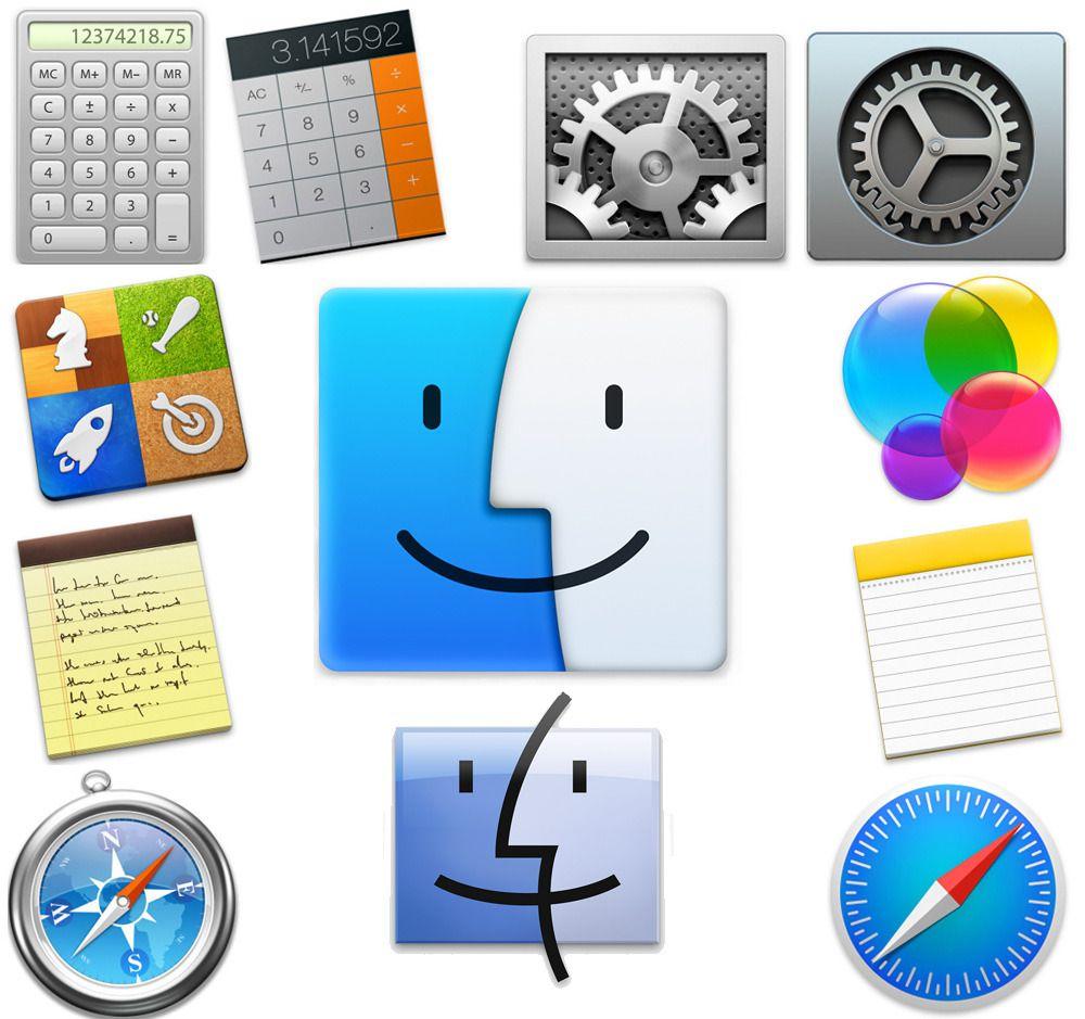 Ser du de flate stiliserte ikonene som Apple har designet for Yosemite?