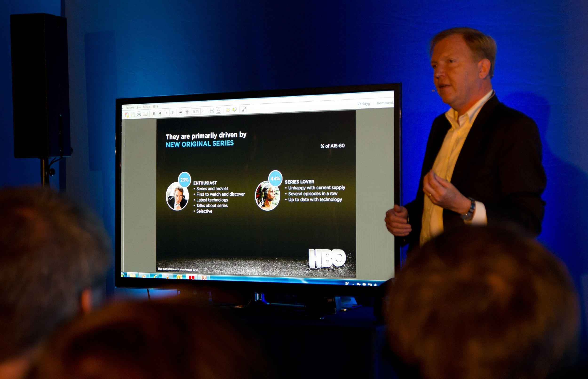 Hervé Payan fra HBO Nordic hadde mye spennende å fortelle, selv om Powerpoint-presentasjonen var noe underveldende.Foto: Rolf B. Wegner, Hardware.no
