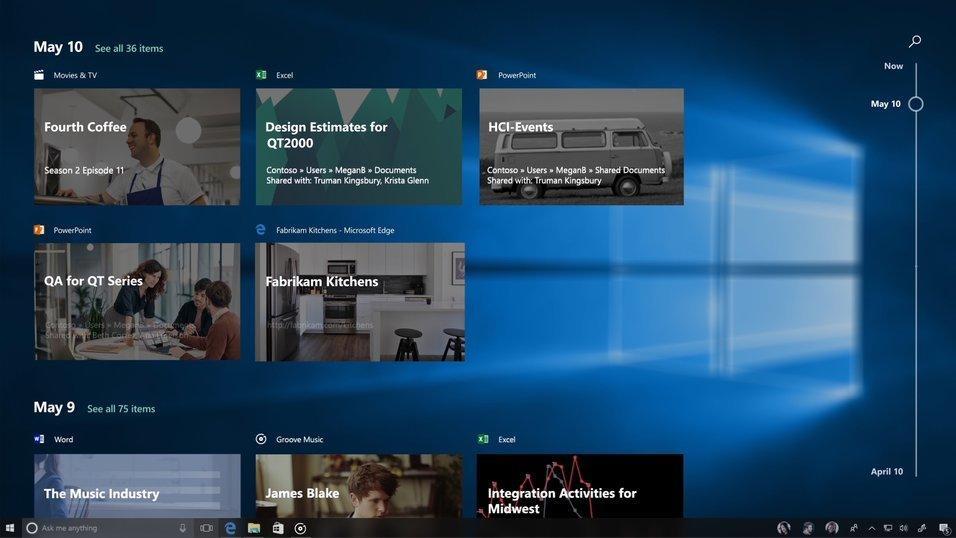 Fjerner tidslinjefunksjon i Windows
