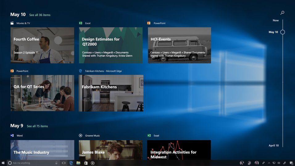 Timeline lar deg ta opp igjen arbeidet med dokumenter fra andre Windows-PC-er eller iOS/Android-enheter.