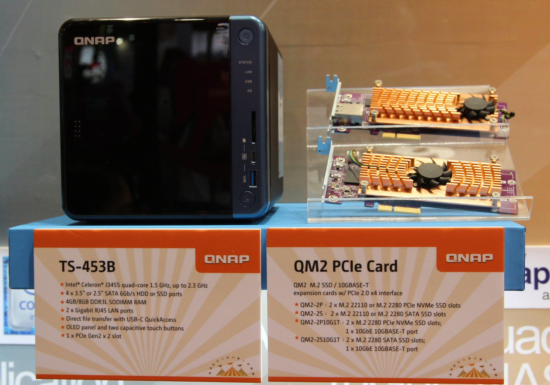 Qnap TS-453B har plass til et PCIe-kort.