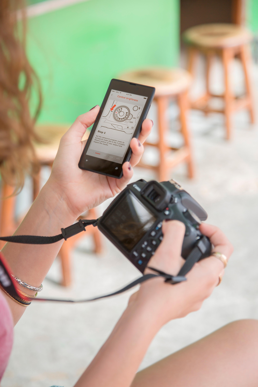 EOS Bedre Bilder-applikasjonen jobber i tandem med EOS 1200D, og forklarer hvordan de forskjellige funksjonene fungerer.Foto: Canon