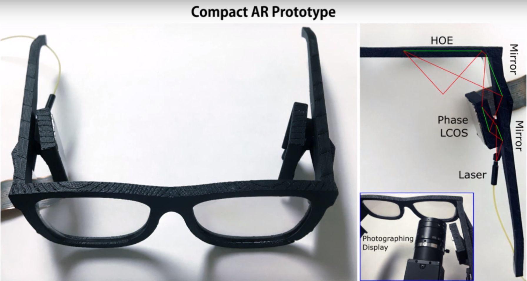 Slik ser prototypen på brillene ut. Mye teknologi er pakket inn i et solbrille-format.