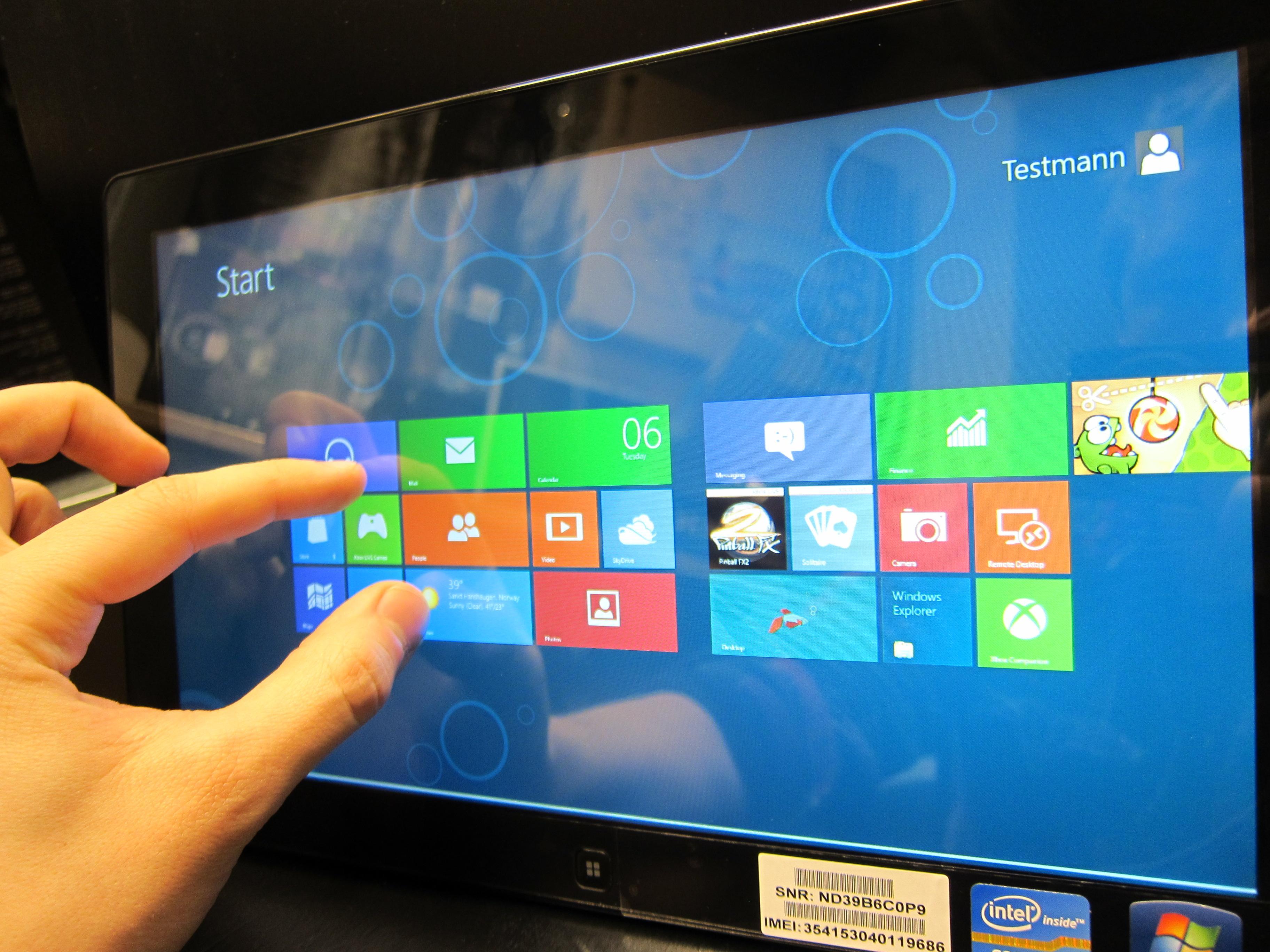 Windows 8s Metro-menyer fungerer ypperlig på nettbrett.Foto: Hardware.no