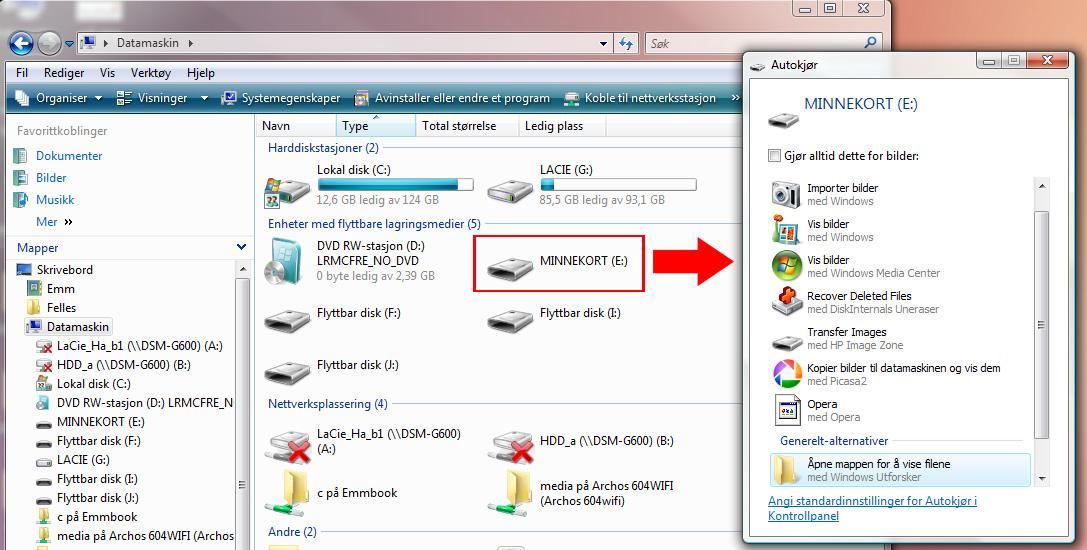 Slik vil minnekortet dukke opp på PC-en. (Vi har markert stasjonen med rødt). Klikk for større bilde.
