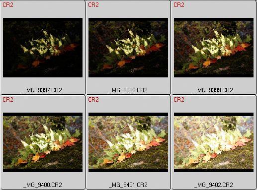 Eksempel på bildeserie tatt med tanke på HDR-generering. Disse seks bildene dekker til sammen så godt som hele det dynamiske omfanget til scenen. Det kunne godt ha vært ett bilde til i hver ende av serien, men det er ikke nødvendig. (*.CR2 er råfiler fra Canon EOS 5D, her vist i programmet BreezeBrowser.)Eksponeringsinnstillingene var som følger: 1/500 s, 1/250 s, 1/125 s, 1/60 s, 1/30 s og 1/15 s ved ISO 400 og blender f. 8.