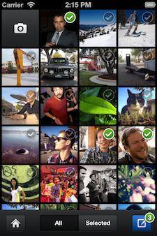 Du kan dele flere bilder i én omgang, etter at du eventuelt har lagt på filtre.