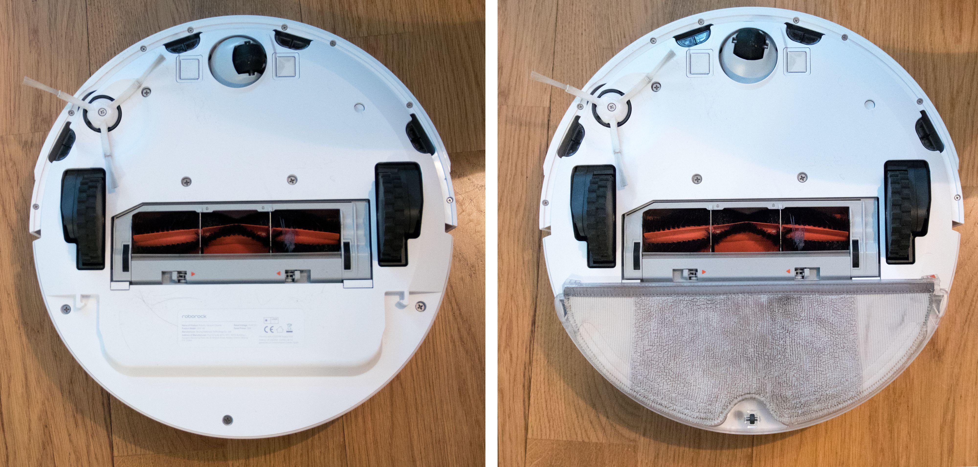 Undersiden av robot, med og uten vaskemopp.