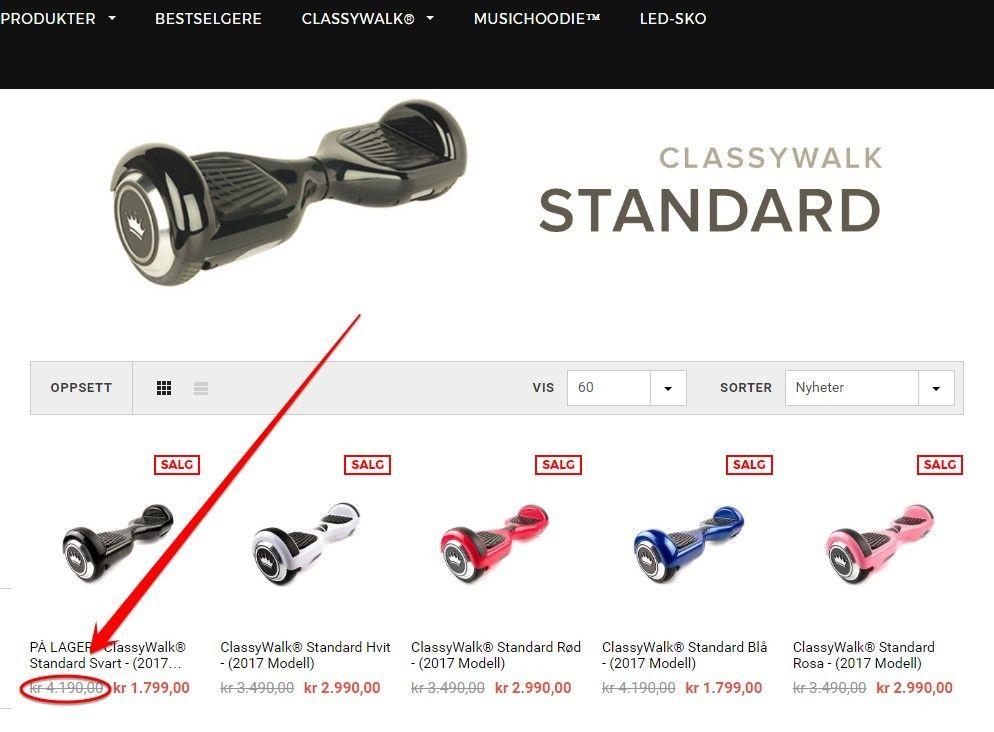Førprisen på Stayclassy.no oppgis å være langt høyere enn det oversikten fra Prisjakt.no viser.