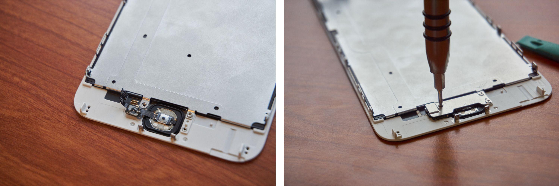 Vi festet kabelen – nok en gang – med dobbeltsidig teip, og poppet på kontakten. Deretter var det bare å skru på metallplata igjen.