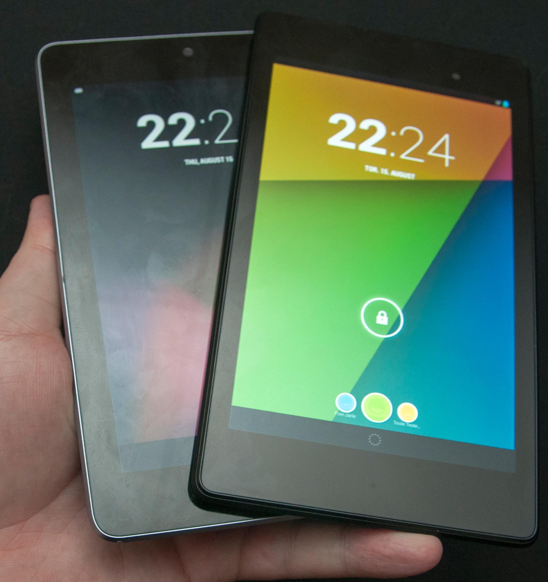 Ny og gammel Nexus 7. Den nye er til høyre.Foto: Finn Jarle Kvalheim, Amobil.no
