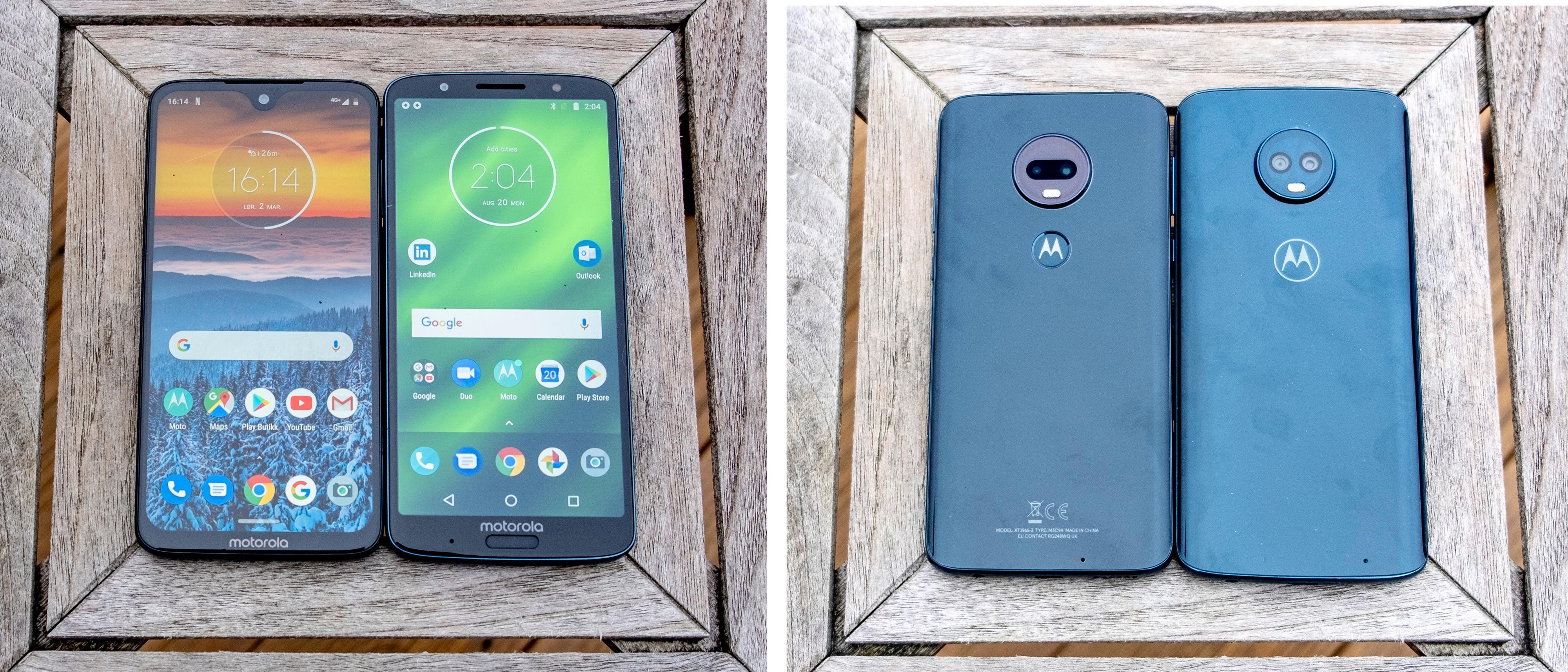 Moto G7 Plus (venstre) og Moto G6 Plus foran og bak. Fingerleseren er flyttet vekk fra forsiden og har landet bak M-logoen på baksiden på 7 Plus. I tillegg har skjermen fått smalere kant oppe på den nye, men det stikker et kamera ned i den. Kamerabumpene på baksiden har fått ny innmat som gjør dem bedre i noen situasjoner, men ikke i alle.