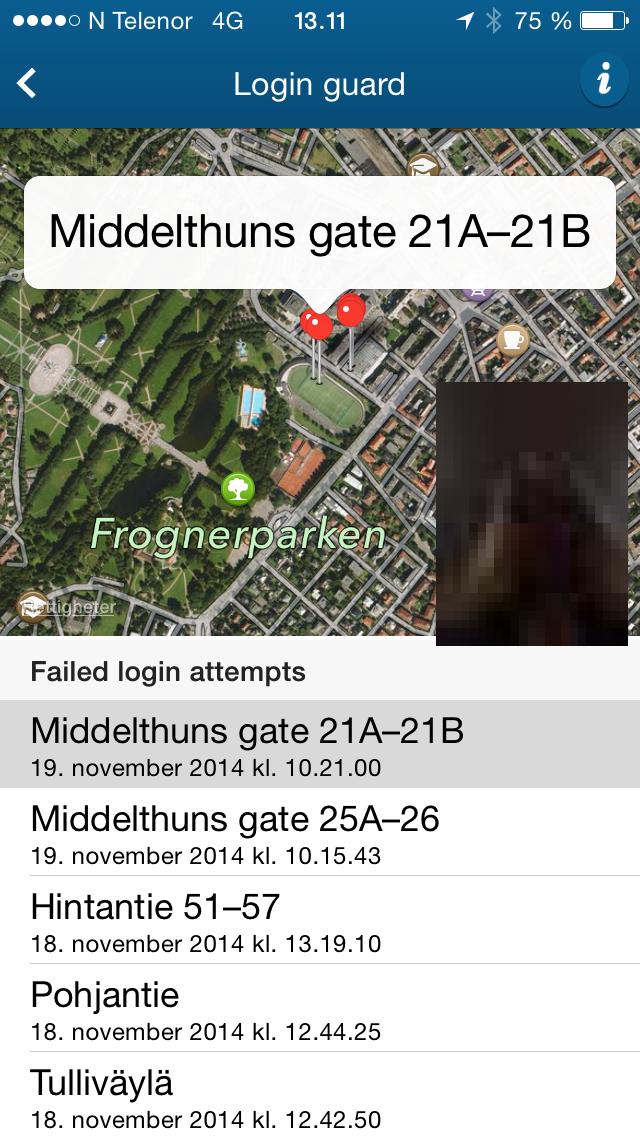 Oversikten over feilede innloggingsforsøk kan du selv se om du logger inn med sikker pålogging. Eventuelle bilder vil være sladdet av personvernhensyn, men Nordea vil sitte på en usladdet versjon av bildet.