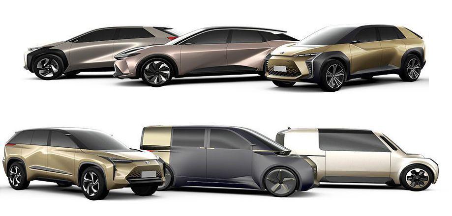 Toyota har sluppet denne skissen av elbiler de ser for seg å lansere de neste årene.