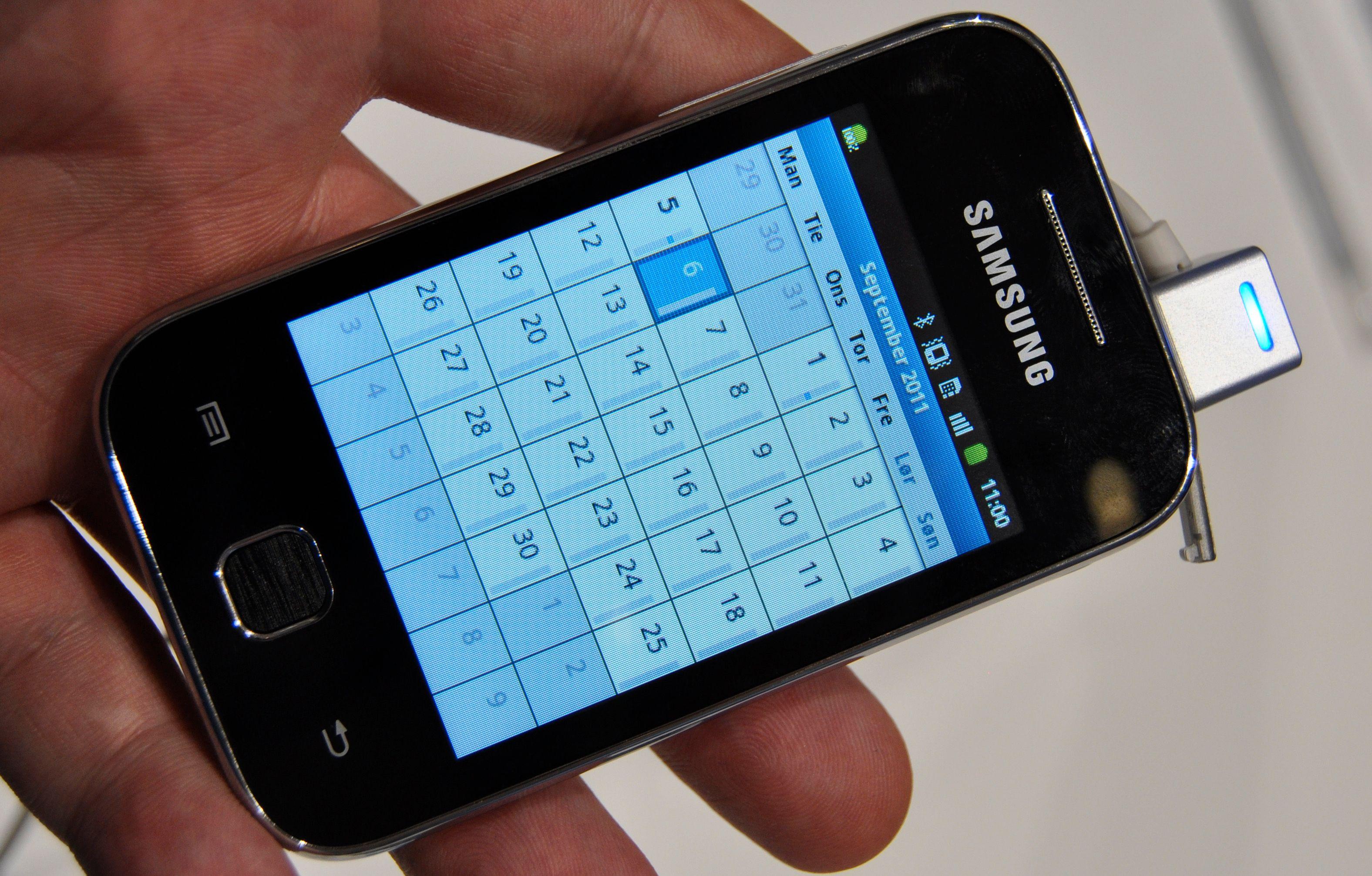 Touch Wiz-menyene er ikke like omfattende på Galaxy Y som på mange av de andre Galaxyene. Telefonen kjører eksempelvis Androids egen kalender.