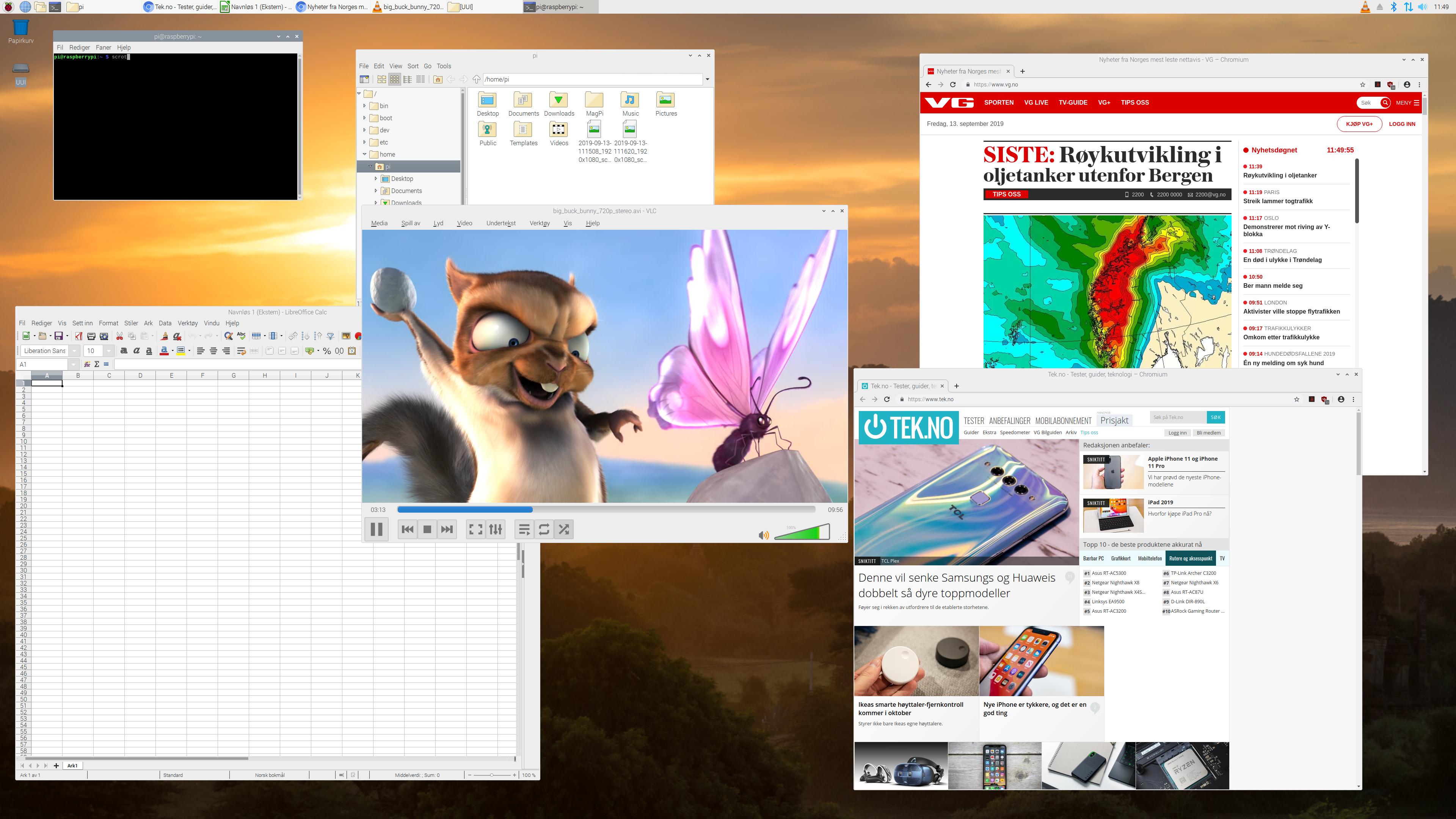 Med 4K-oppløsning får vi endelig godt med skrivebordsplass. Her er vi i aksjon med den nye versjonen av operativsystemet Raspbian.