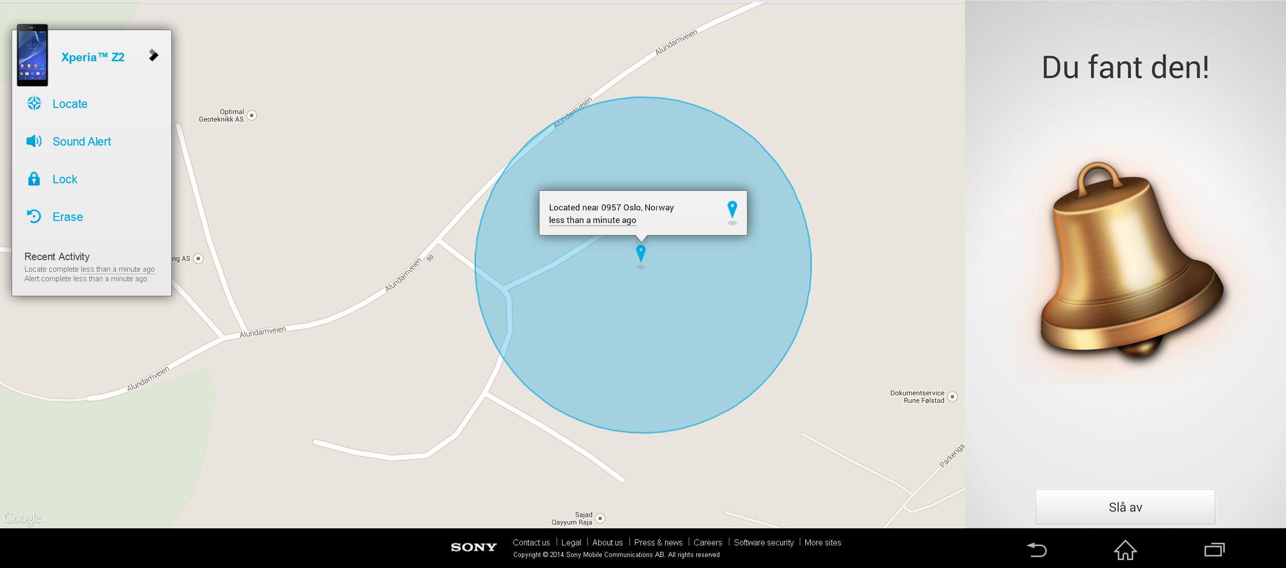 En egen løsning kalt MyXperia sørger for at du har oversikt over hvor telefonen er, og lar deg fjernslette den ved behov.Foto: Finn Jarle Kvalheim, Amobil.no