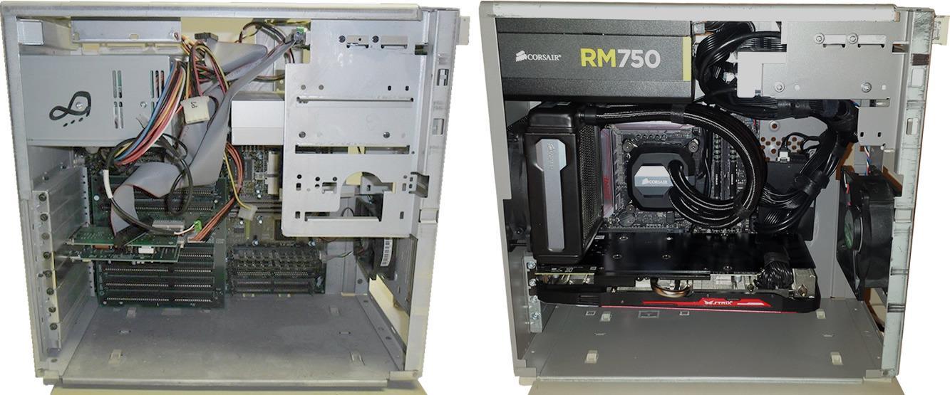 Til venstre ser du originalen, komplett med gammeldagse ISA-spor og og brede P-ATA-kabler. Til høyre har kassen tatt igjen moderne maskiner med PCI Express, vannkjøling og en strømforsyning som antakeligvis er tre ganger heftigere enn originalen.