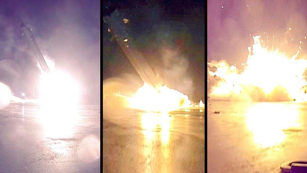 Her går det galt idet Falcon 9-raketten prøver å lande