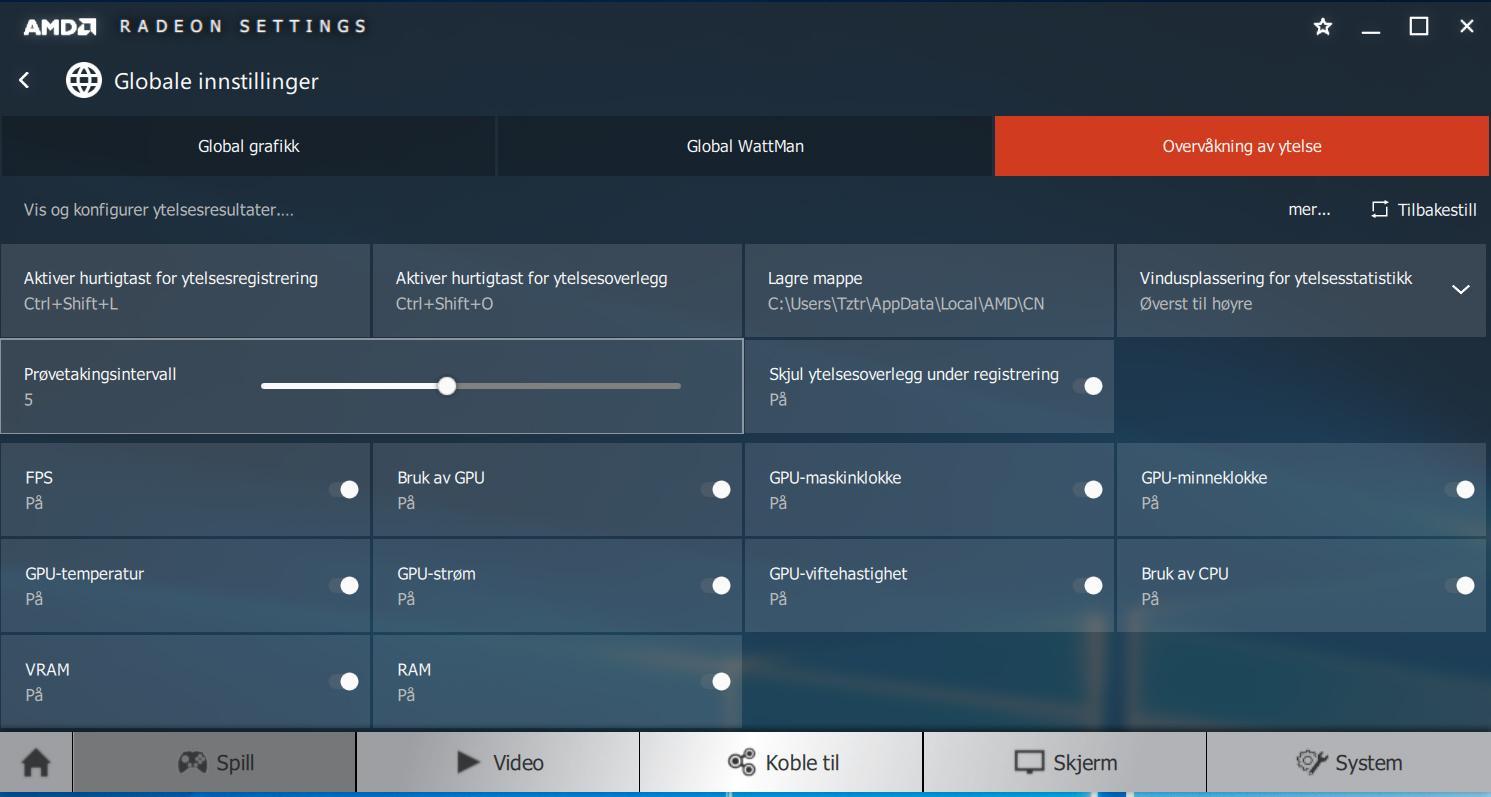 Du kan skreddersy hvilken informasjon du ser i overvåkningsvinduet. AMD