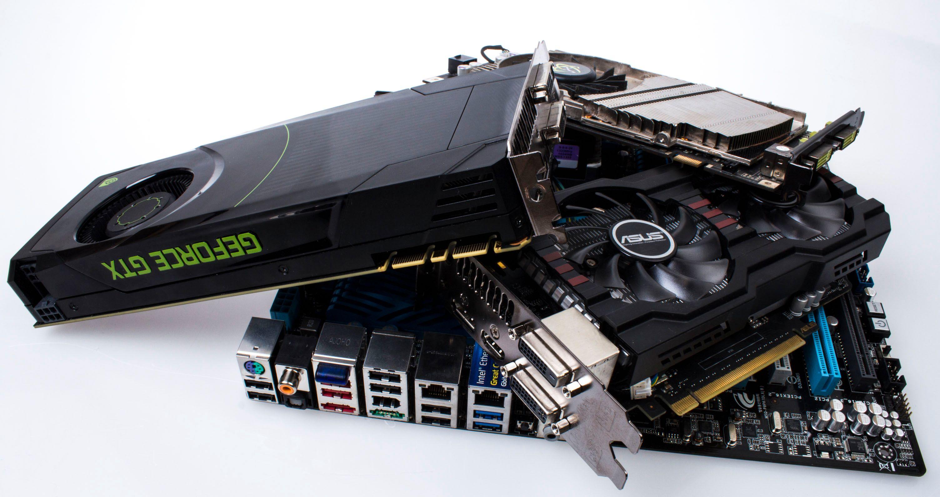 Et GeForce GTX 680 og et GeForce GTX 650 Ti Boost er begge solide oppgraderinger fra vårt flere år gamle GeForce 9600 GT.Foto: Varg Aamo, Hardware.no