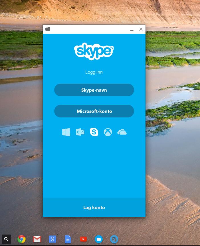 Her kjører vi Skype for Android under Chrome OS. Det var kun innlogging med Skype-navn vi fikk til å fungere, men da kunne ikke alle mine gamle Messenger-kontakter se meg – selv om de to kontene er koblet sammen.