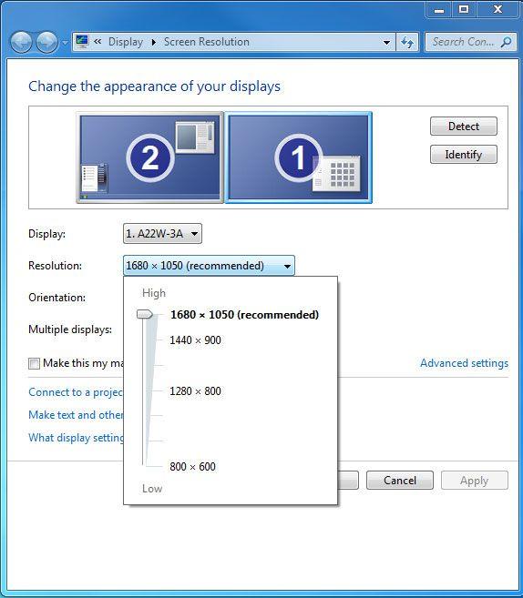 Operativsystemet ditt kan fortelle deg oppløsningen skjermen din klarer. I dette eksempelet er den maksimale oppløsningen 1680 x 1050 piksler.