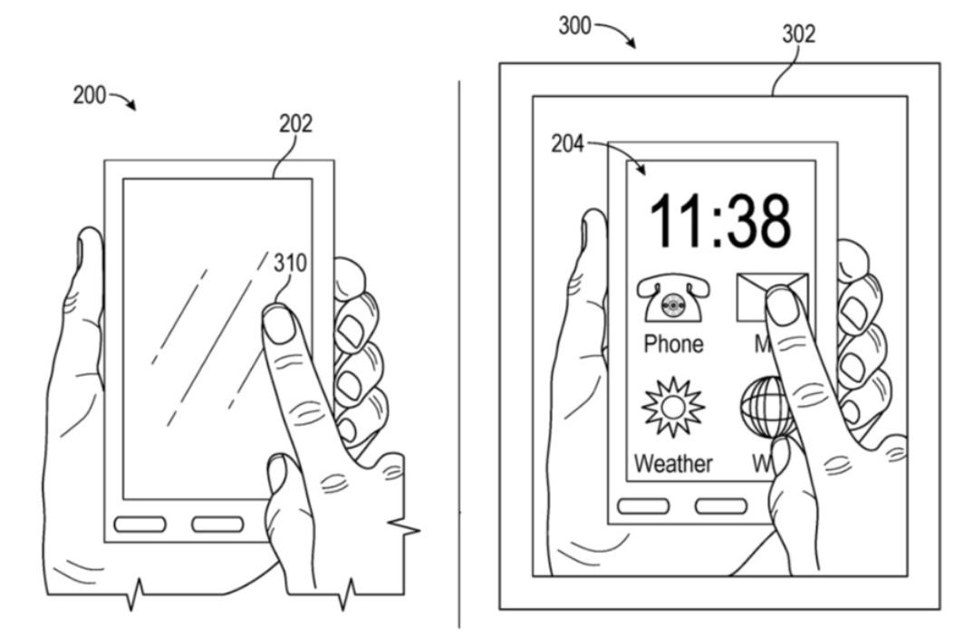 Til venstre en tilsynelatende innholdsfri mobilskjerm, til venstre mobilskjermen tolket gjennom Apples mulige løsning.