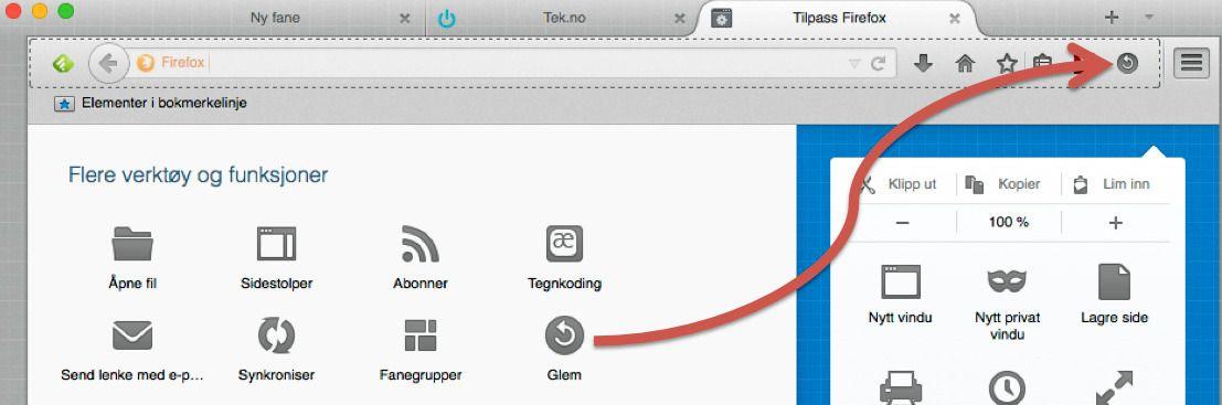 Slik legger du til den nye Glem-knappen i Firefox.