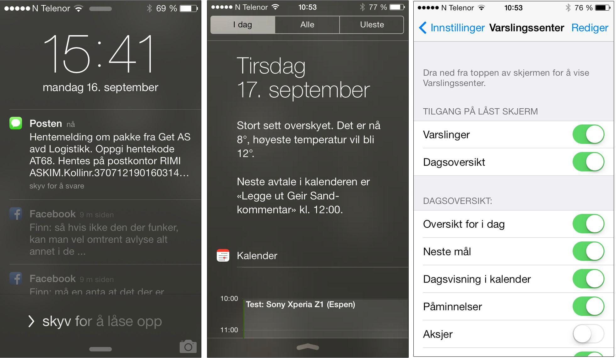 Varslingssenteret i iOS 7.