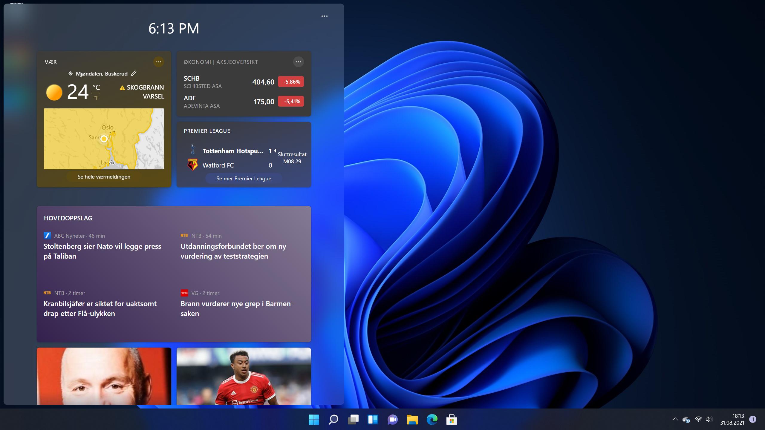 Windows 11 sitt nye varslingssenter med miniprogrammer.
