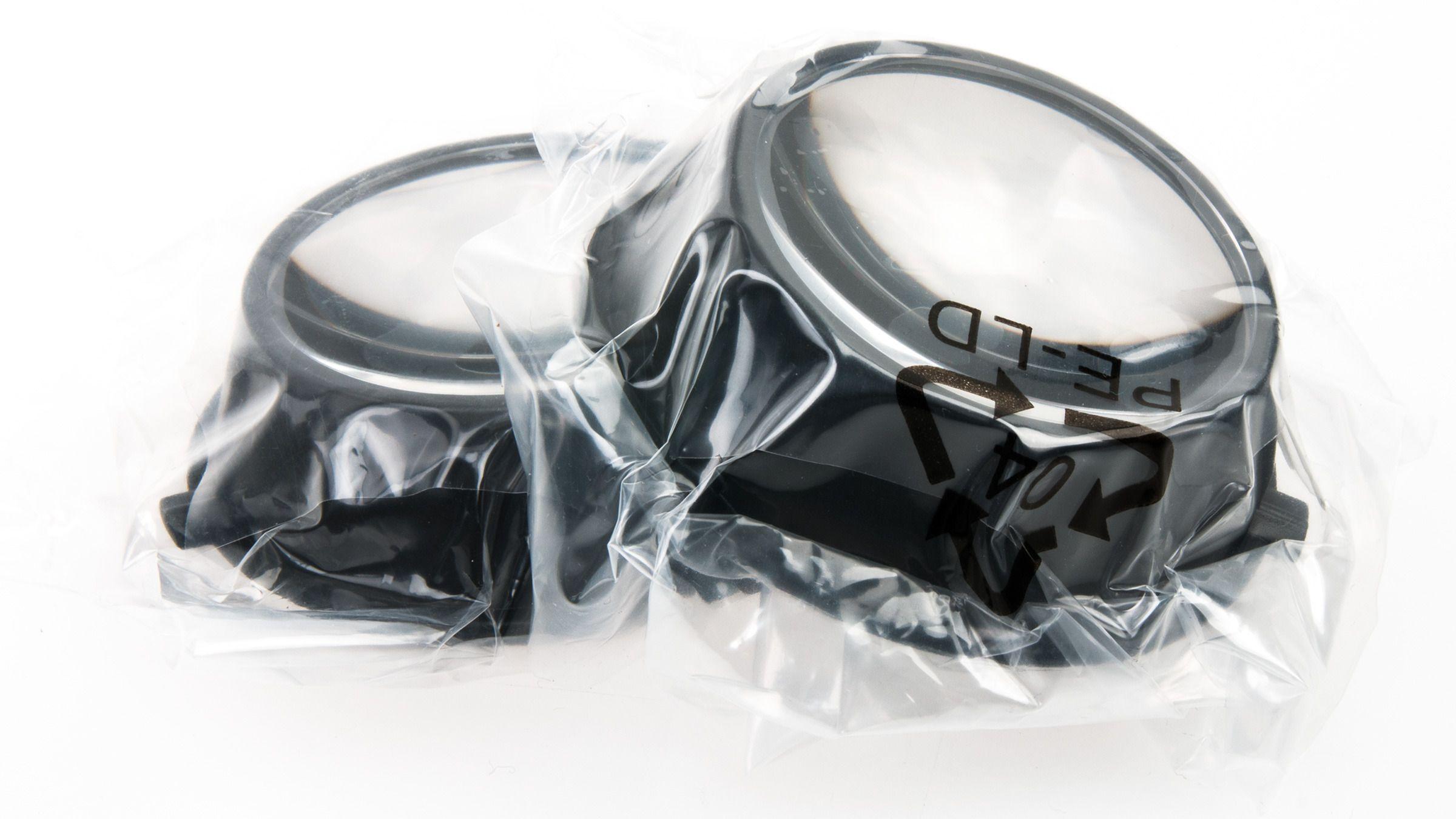 Hvis du er nærsynt kan disse linsekoppene brukes i stedet for de som kommer ferdig montert inni riften.Foto: Varg Aamo, Tek.no
