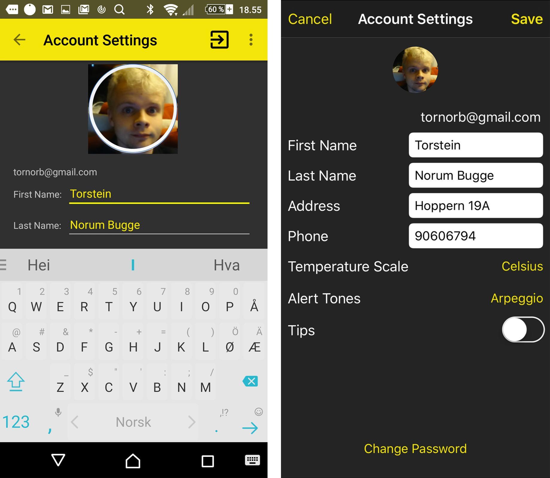 Kontoinnstillingene i Pebblebee Hive-appen. Android-versjonen til venstre vil ikke vise profilbildet til undertegnede korrekt, og slikt rot finnes rundt omkring i appen.