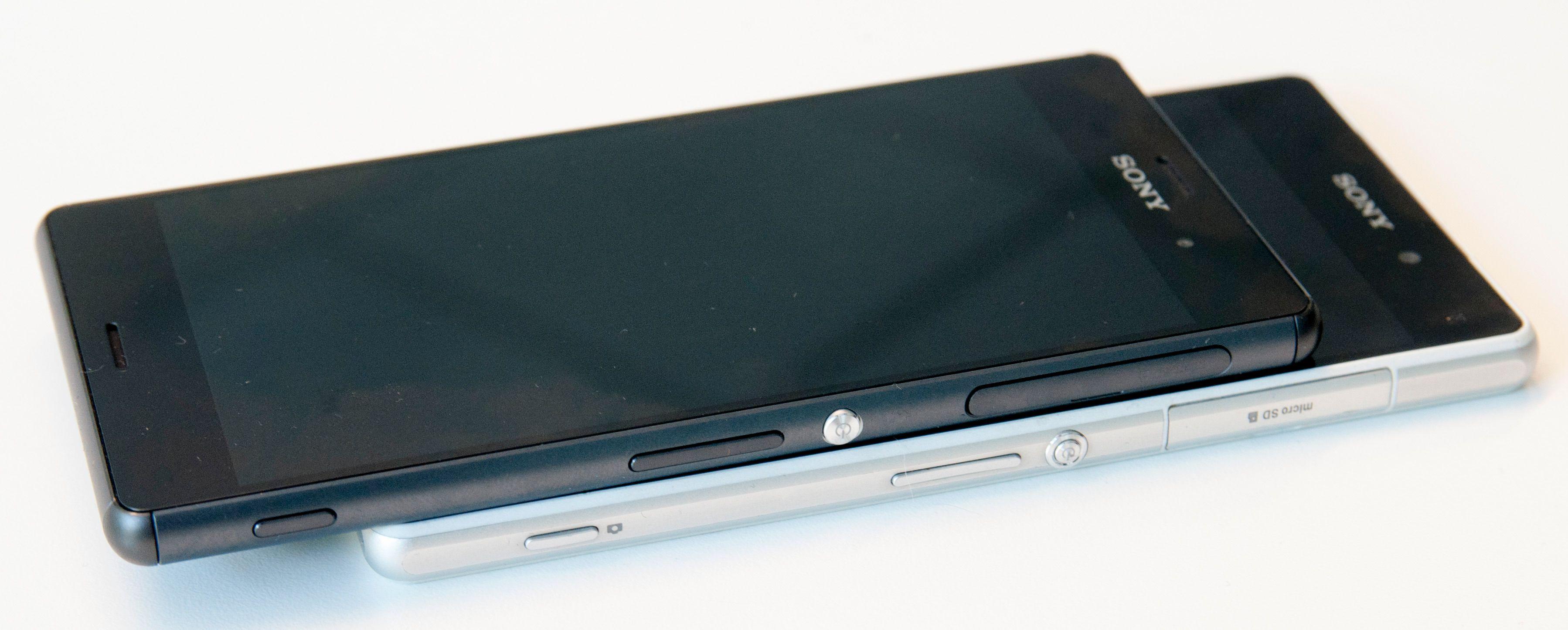 Sony har endret ganske mye på designen mellom Xperia Z2 (nederst) og Xperia Z3.Foto: Finn Jarle Kvalheim, Amobil.no