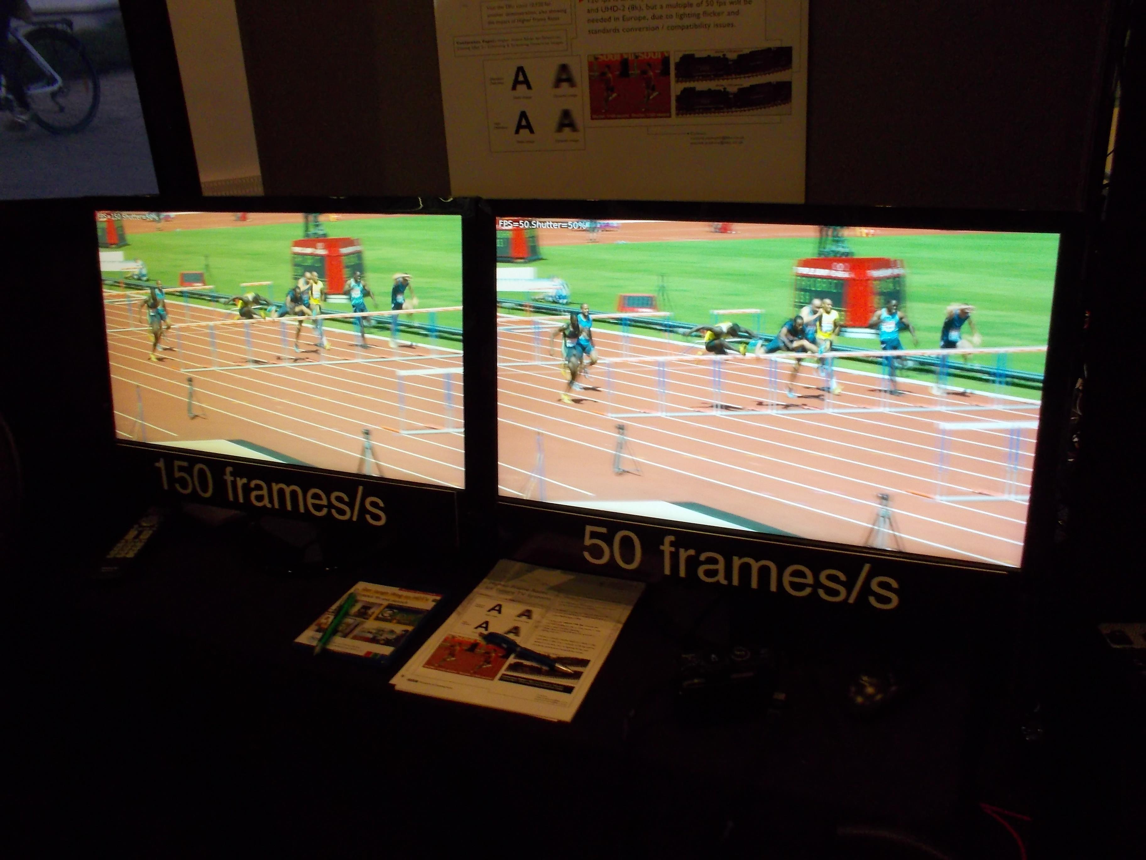 Her kan du se forskjellen på 50 og 150 bilder i sekundet.